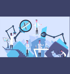 Scientists in laboratory males in lab concept who vector