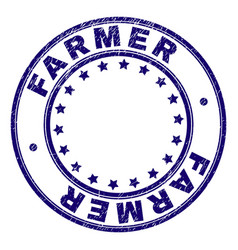 Scratched textured farmer round stamp seal vector