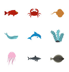 Sea nature icons set flat style vector