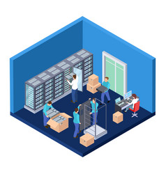 server room isometric information technology vector image