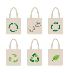 set eco bags bag with recycling icon vector image