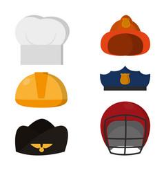 Set jobs dress hat vector