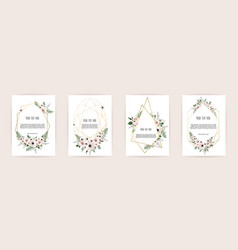 set of card with flower rose leaves and vector image