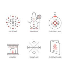 set of christmas icons outline christmas vector image