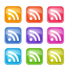 set of colorful rss icons vector image
