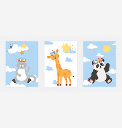 set of cute posters with little cat panda vector image