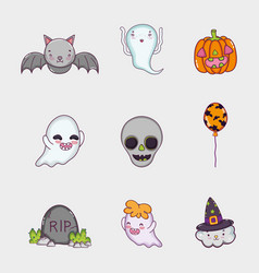 set of halloween cartoons vector image