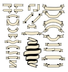 Set of the ribbons Design elements for logo vector image