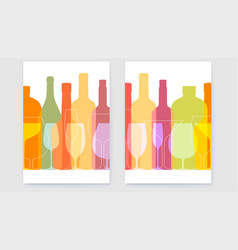 set posters with outline wine bottles and vector image