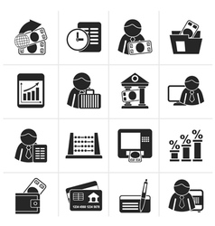 Silhouette Bank and Finance Icons vector