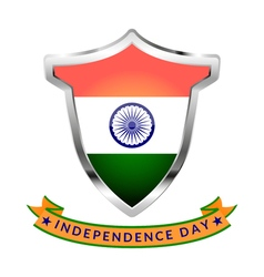 Silver icon with flag of india and inscription vector