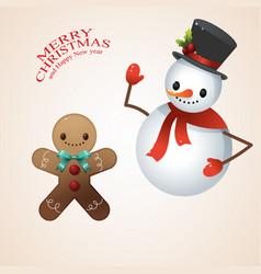 snow man in santa claus cap and gingerbread man vector image