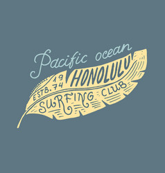Surf badge and wave palm tree and ocean vintage vector