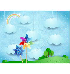 surreal landscape with pinwheels and hanging vector image