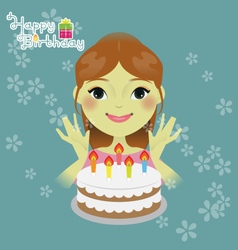 Sweet girl with birthday cake vector image