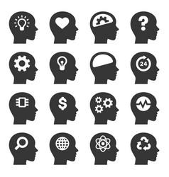 thinking head icons set on white background vector image