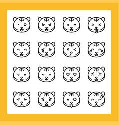 Tiger emoticon set line style vector
