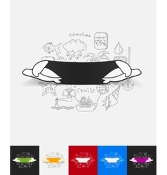 Turtle paper sticker with hand drawn elements vector