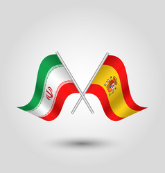 Two crossed iranian and spanish flags vector