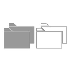 two folder grey set icon vector image