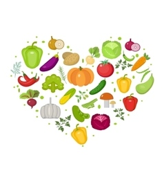 Vegetables icon set in heart shape Flat style vector
