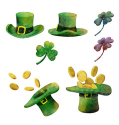watercolor set for st patricks day vector image