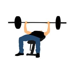 weightlifter on bench bodybuilder in gym vector image