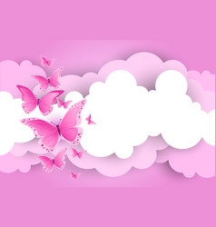 white clouds and pink sky template background with vector image
