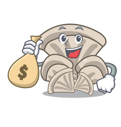 With money bag oyster mushroom character cartoon vector