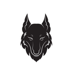 wolf head design on white background vector image