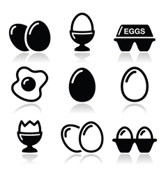 Egg fried egg egg box icons set vector
