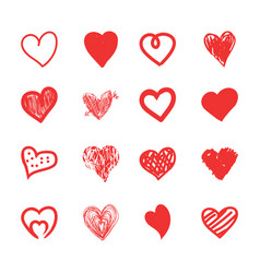 hand drawn hearts sketch grunge and doodle set vector image vector image