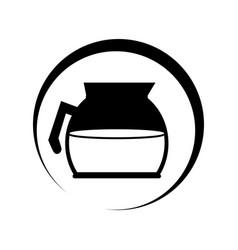 Monochrome circular frame with coffee glass jar vector