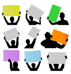 people holding sign vector image vector image