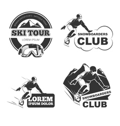 Retro ski emblems badges and logos set vector image