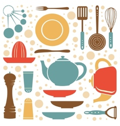 A kitchen collection retro style vector image