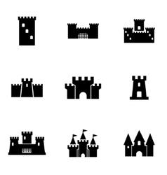 black castle icon set vector image