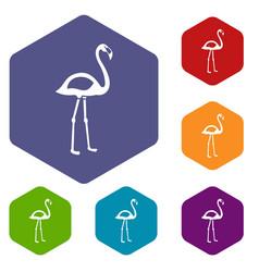 Flamingo icons set hexagon vector