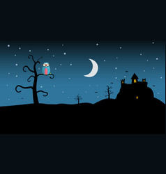 night landscape with spooky castle and owl on vector image vector image