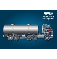 Tank truck symbol made of mechanical parts vector image