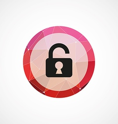 unlock circle pink triangle background icon vector image