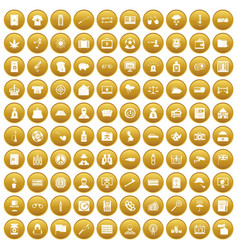 100 police icons set gold vector image vector image