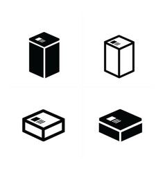 4 style box icons set vector image vector image