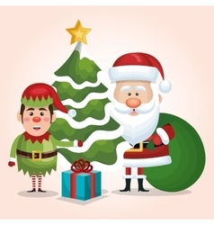 card santa claus elf tree gift bag design isolated vector image vector image