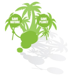 Ecology bubble speech and palms vector image vector image