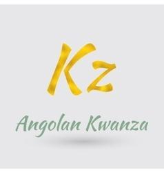 Golden Symbol of Angolan Kwanza vector image