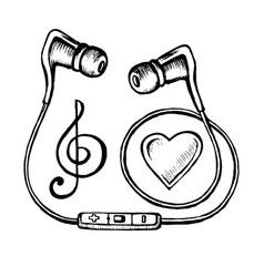 headphones doodle sketch vector image