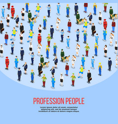 isometric people professions background vector image vector image