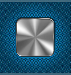 metal square button on blue perforated background vector image vector image