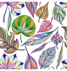 Seamless pattern with colored abstract leaf vector image